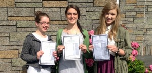 Pictured are some of the students who scored over 575 points in their Leaving Cert. Emma Martyn (Corofin), Ciara Finan (Corofin) and Caoimhe Gordon (Dunmore).