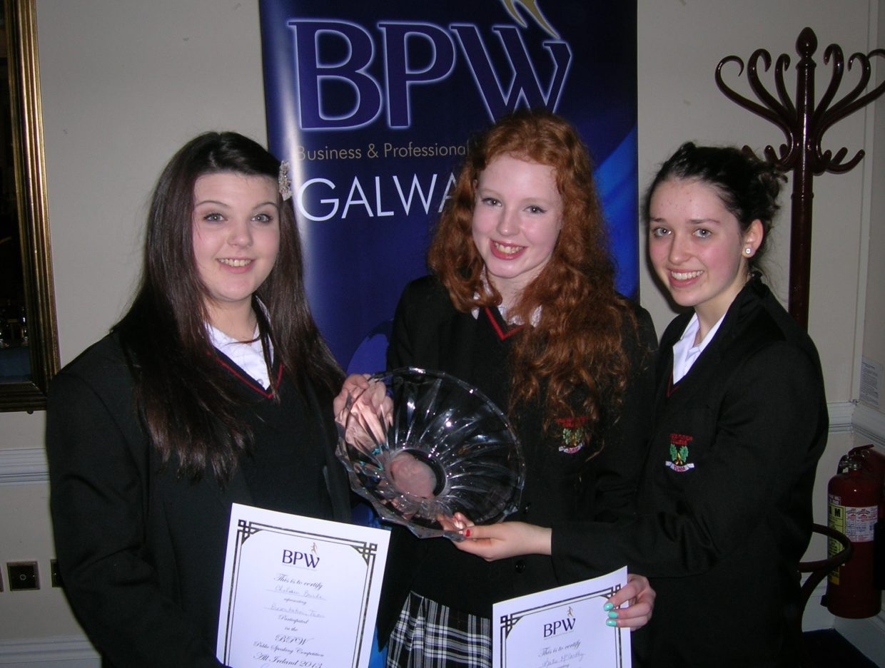 Katie McCarthy, Chelsea Burke and Therese Kearns finalists in the all Irelands BPW speaking competition