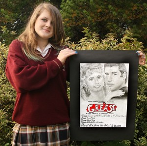 "Congratulations to Jade Halion (3rd year) designer the winning poster for this year's production of the musical ""Grease"""