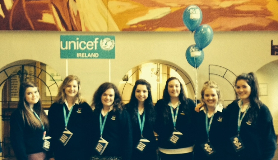 The girls Amy Walsh, Niamh Finnegan, Eimi Smith, Caileigh Anne Ryan, Elizabeth McNicolas, Shania Collins and Ellen Walsh attended the special Youth Summit in Dublin Castle on 19 September 2014.