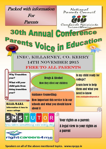 The National Parents' Council post-primary Invites all Parents and Guardians to attend this year's 30th Annual Conference