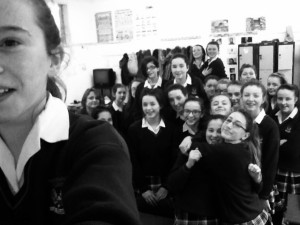 First and Second Year SPHE students celebrate Safer Internet Day 2015 with their Safer Internet Day class selfies. It's everyone's responsibility to recognise cyber bullying when they see it and it's up to everyone to do something about it!