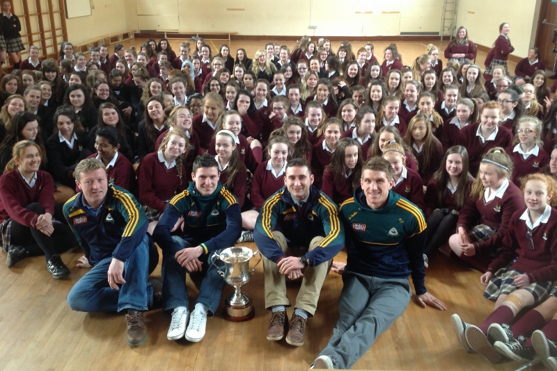 Selector Trevor Burke and players Dylan Wall, Alan Burke and Kieran Fitzgerald posed for photographs with all the students