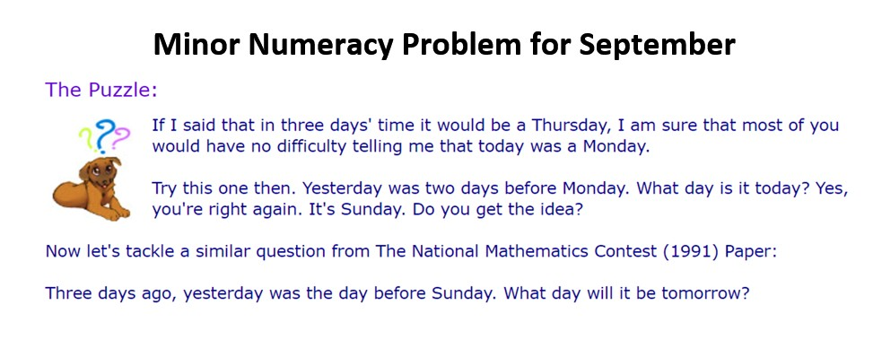 Minor Numeracy Problem for September