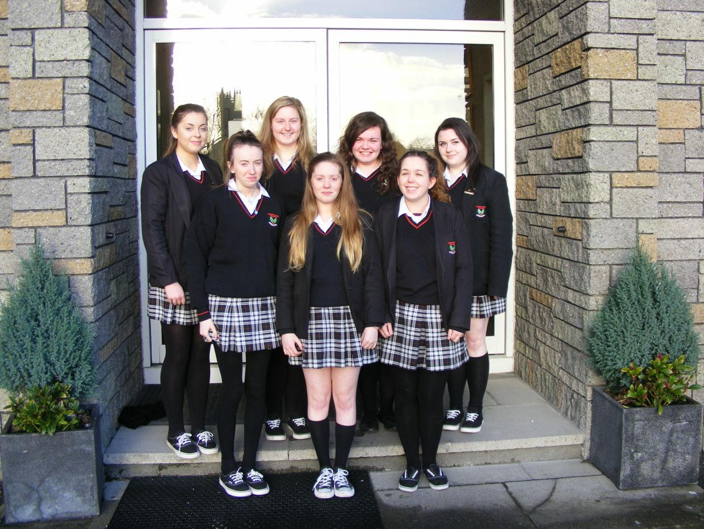 The girls who record a Podcast about Nano Nagles life & the founding of the Presentation Sisters Sarah Maloney, Amy Walsh, Ellen Walsh, Stephanie Moriarty. Natasha Cullinane, Alisha Garvey, Emily Moloney