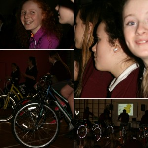 The Girls enjoying the burn Calories Not Carbon presentation as part of the Green Schools Energy Day