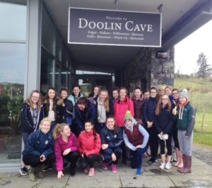 The girls at Doolin caves about to start their guided tour
