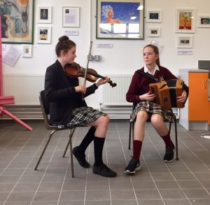 Ellie Egan and Caoimhe Kelly performing a Irish Traditional Medley