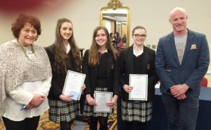 The finalists of the BPW All Ireland Public Speaking competition Roisin Fahy, Caoimhe Fallon and Jacqui Conway.