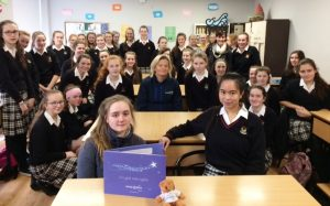 Patricia  from Make A Wish Ireland with the Transition Year students