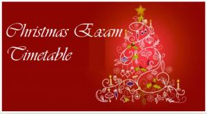 Christmas Exam Timetable