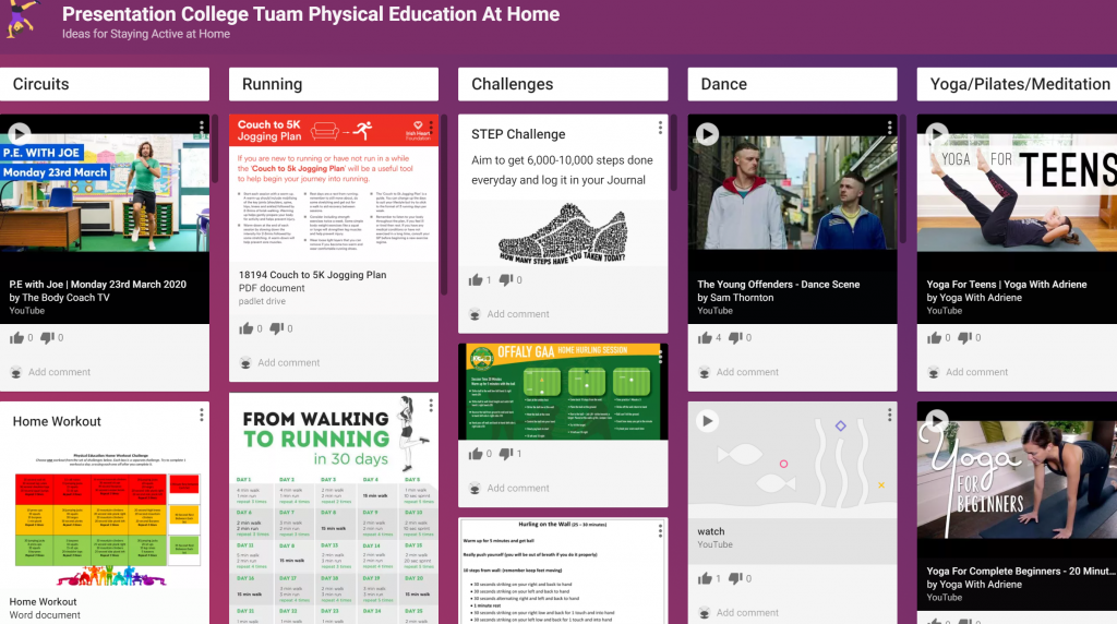 PE Department Padlet